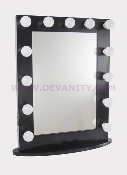 640005 GLOSSY BLACK HOLLYWOOD MAKEUP MIRROR