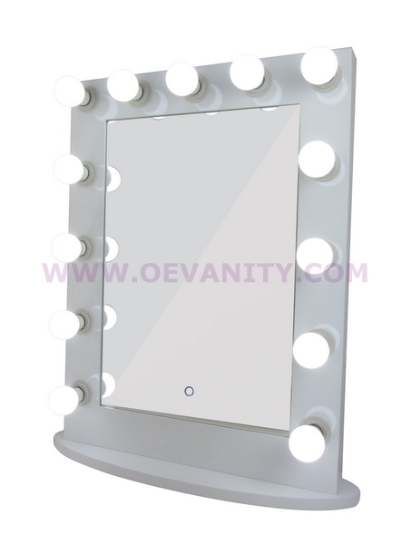 640006 GLOSSY WHITE HOLLYWOOD MAKEUP MIRROR WITH 12 LED BULBS