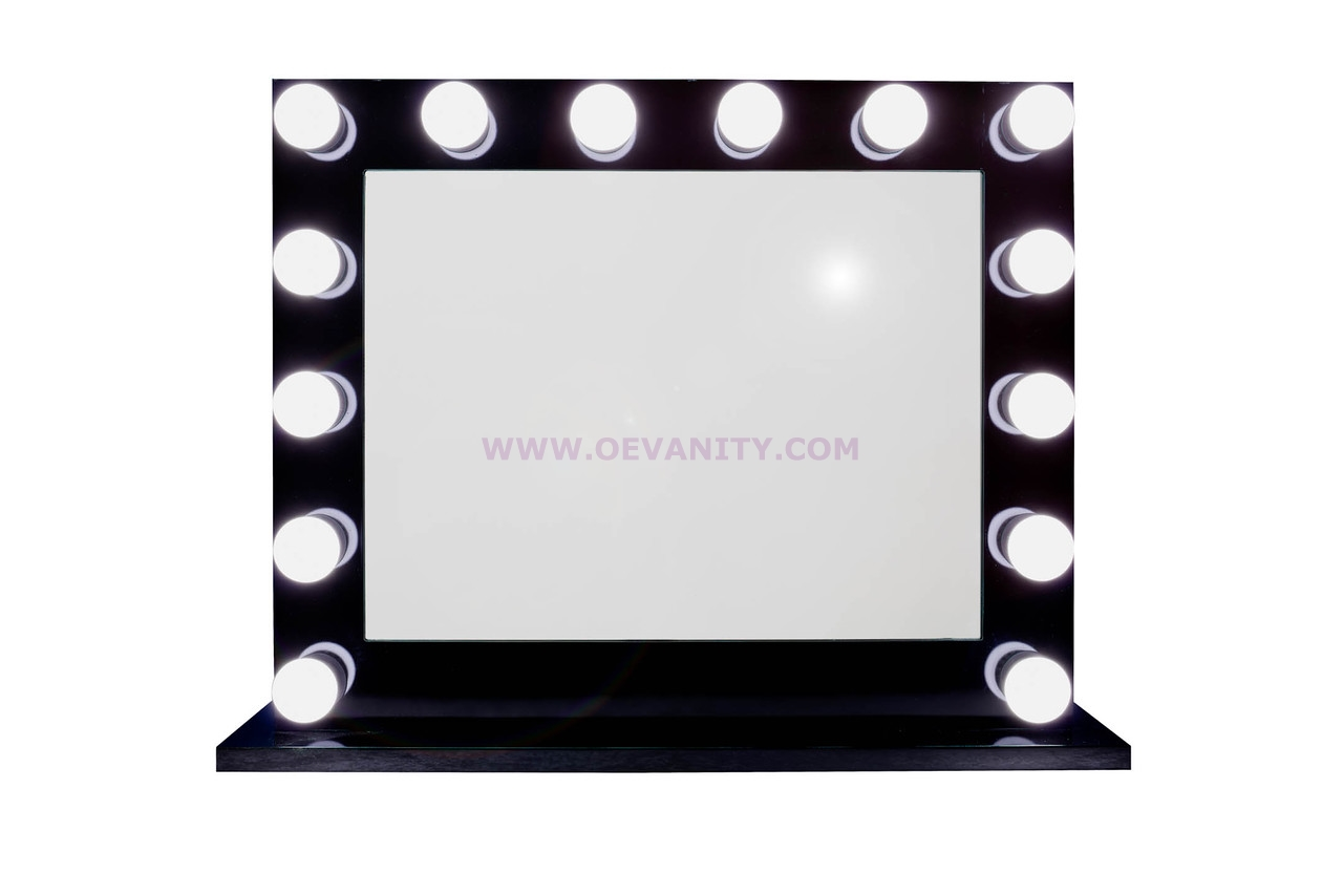 640034 IMPRESSION VANITY GLOSSY BLACK HOLLYWOOD MAKEUP MIRROR WI