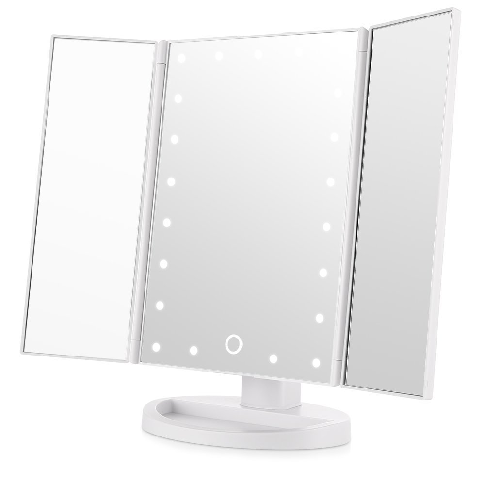 690009 Tri-Fold Two-Sided Lighted Makeup Mirror